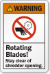 Rotating Blades Stay Clear Of Shredder Opening Label