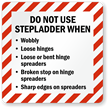 Do Not Use Step Ladder When Woobly Label