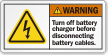Turn Off Battery Charger Before Disconnecting Cables Label