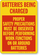 Batteries Safety Precautions Sign