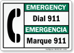 Bilingual Emergency Dial 911 Sign