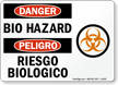 Bilingual Bio Hazard OSHA Danger Sign