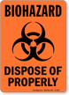 Biohazard Dispose Of Properly Sign