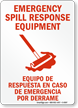 Bilingual Emergency Spill Response Equipment Sign