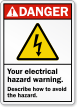 Personalized ANSI Electrical Hazard Warning Sign