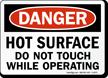 Hot Surface Do Not Touch Danger Sign