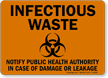 Infectious Waste Notify Public Health Authority Sign