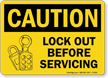 Caution Sign: Lockout Before Servicing (with lock graphic)