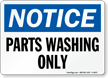 Parts Washing Only OSHA Notice Sign