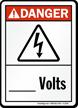 Danger ANSI High Voltage, Add Volts Sign