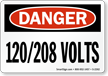 Danger 120/208 Volts Sign