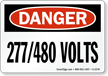 Danger 277/480 Volts Sign