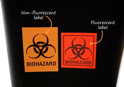 Biohazard fluorescent and non-fluorescent label