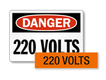 220 volts labels