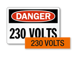 230 volts labels