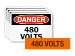 480 volts labels