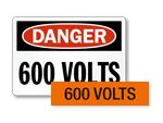600 volts labels