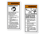 Backhoe & Excavator Warning Labels