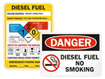 Diesel Fuel No Smoking Signs & Labels