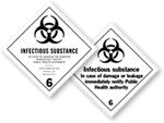 D.O.T. Shipping Labels for Infectious Waste