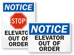 Elevator Out of Order Signs
