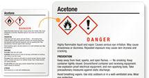 Acetone Labels