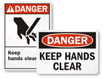 Keep Hands Clear Signs