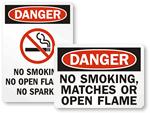 No Open Flames Labels