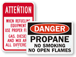 Propane Gas Safety Signs