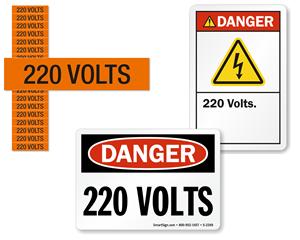 220 volts labels