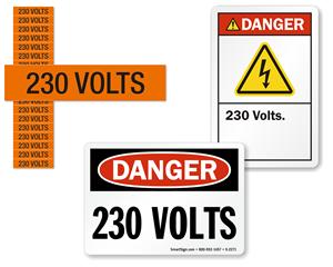 230 volts labels