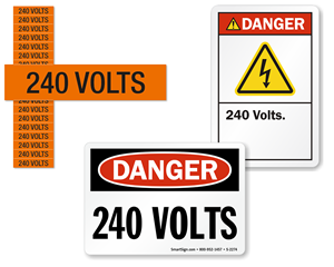 240 volts labels
