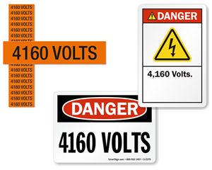4160 volts labels