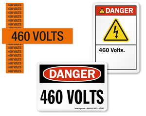 460 volts labels