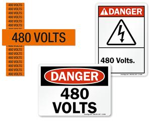 480 volts labels