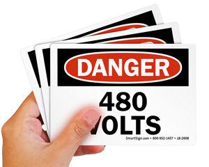 High Voltage Label 480 Volts