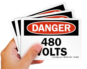 High Voltage Label 480 Volts