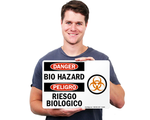 Biohazard Bilingual Stickers