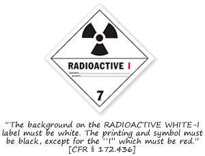 Class 7 Radioactive I Hazmat Labels