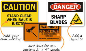 Osha Custom  Safety Labels