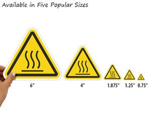 Five Popular Sizes of Burn Hazard - Hot Surfce Label