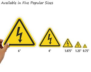 Fivepopular sizes of electrical shock label