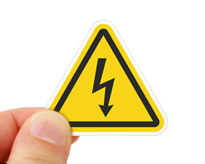High voltage symbol label