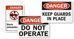 Danger Machine Safety Labels
