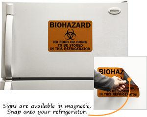No Food Drink Refrigerator Biohazard Sign