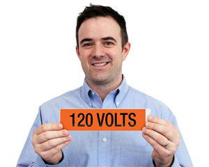 120 Volts Voltage Marker Labels, Large