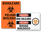 Bilingual Biohazard Stickers