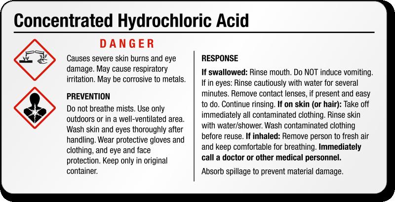 Hydrochloric Acid Labels