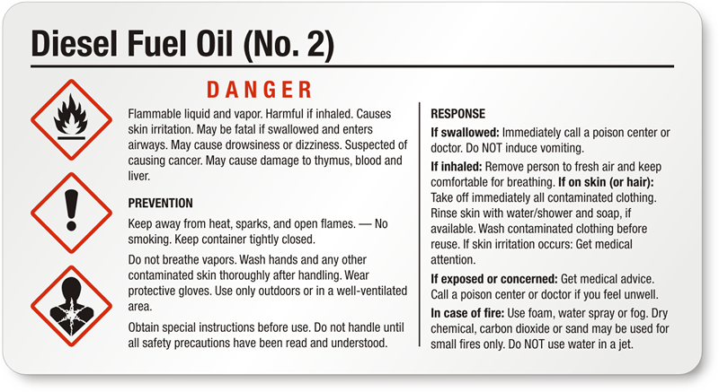 diesel fuel oil labels With diesel fuel msds
