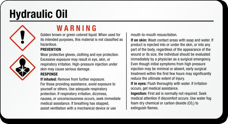 Small Ghs Hydraulic Oil Label Sku Ghs 034 C